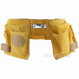 11 Pocket Double Tool Belt Leather Nails Pouch Diy Carpenter Roofing