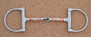 """English or Western Saddle Horse D Ring Snaffle Bit w// Copper Roller 5/"""" mouth"""