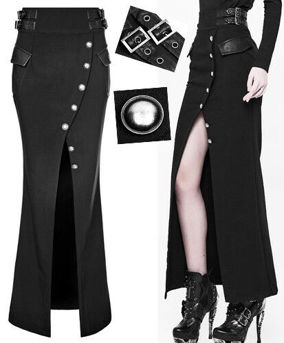 Split Button Skirt Mermaid Military Gothic Pin Long Strap Up Lolita Punkrave TOZikuPX