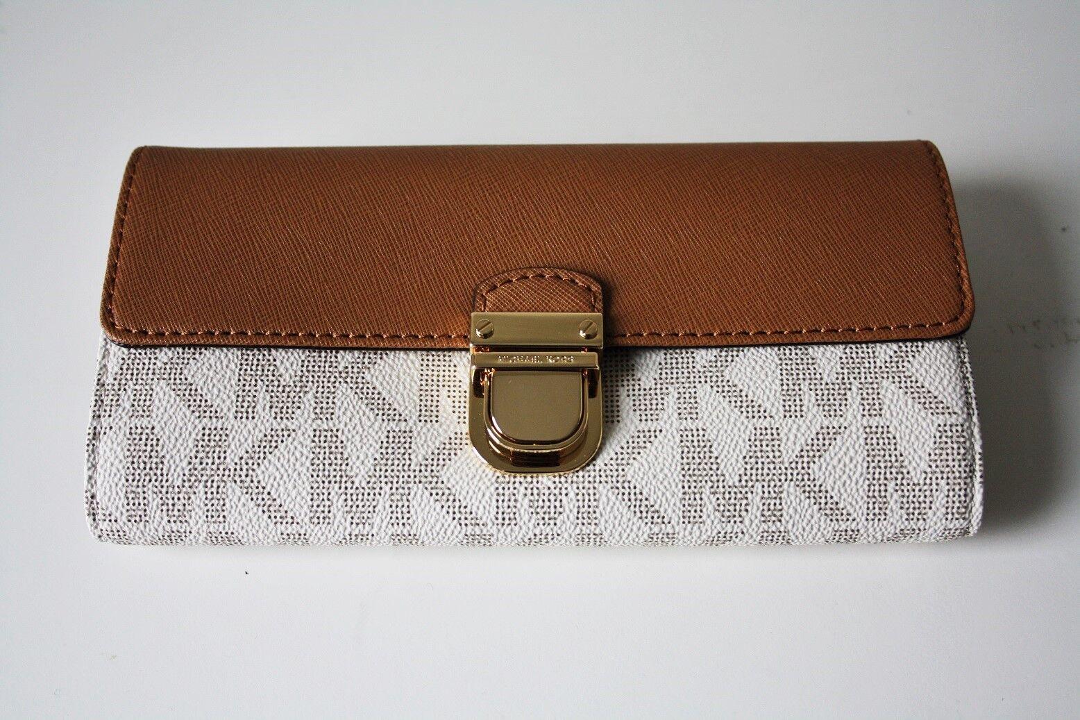 47dd68d628788e Michael Kors Signature PVC & Leather Bridgette Flap Wallet Brn/plum ...