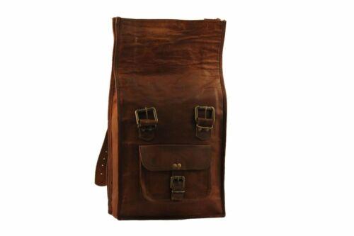 Vintage Leather Men Laptop roll top Shoulder Satchel backpack Rucksack Travel