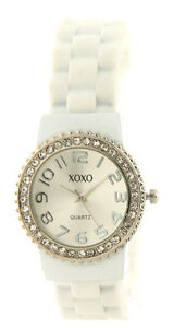 XOXO-XO9032-Women-039-s-Rhinestone-Accent-White-Rubber-Hot-Fashion-Watch