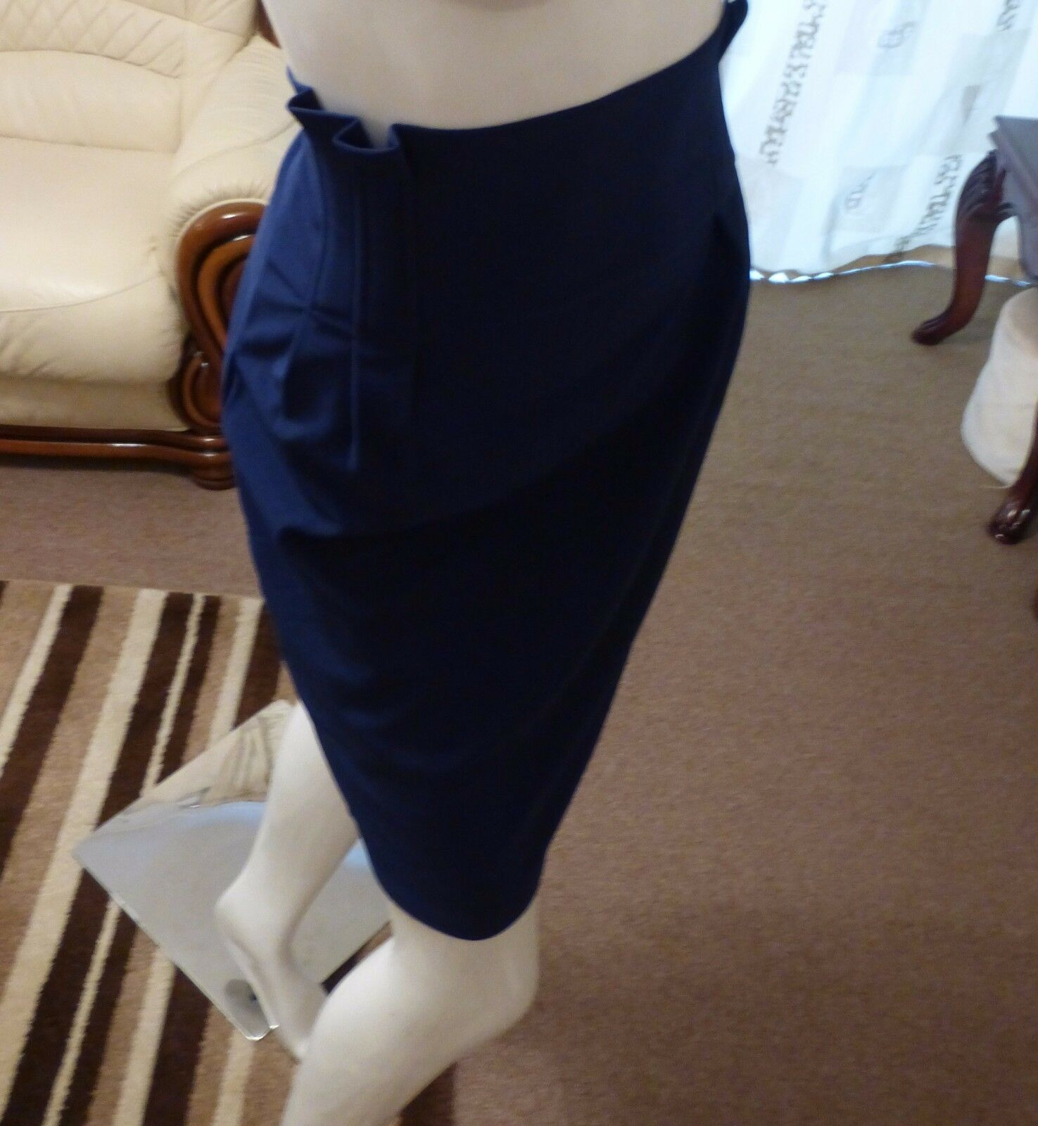 Ladies High Waist Skirt With Pleated Sides M