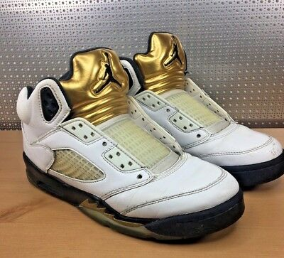 new product 2be61 672d0 Nike Air Jordan 5 Retro Olympic 136027 133 White Gold Men's Size 5.5  Preowned   eBay