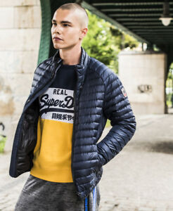 New-Mens-Superdry-Core-Down-Jacket-Navy