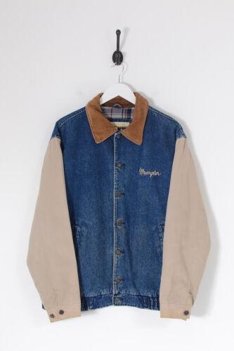Vintage WRANGLER Lined Varsity Denim Jacket Dark B