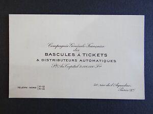 Ancienne Carte De Visite BASCULES A TICKET DISTRIBUTEUR