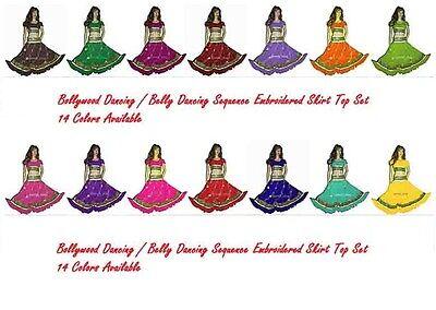 Green Bollywood Dancing Sari Chimki Work Embroidered Belly Dancing Skirt Sequin