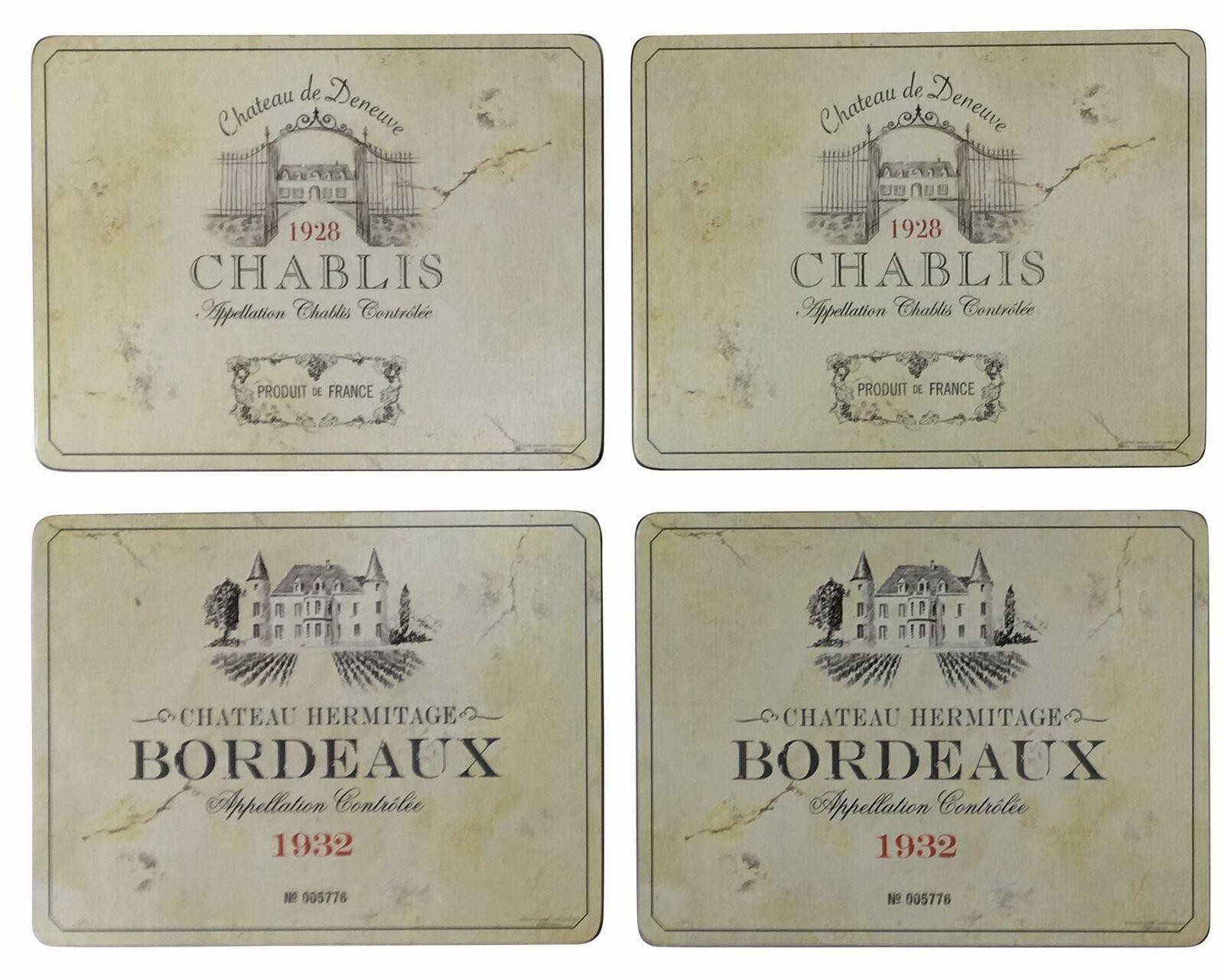 4er Set Französisch Chateau Weingarten Korken Groß Tischsets & Untersetzer