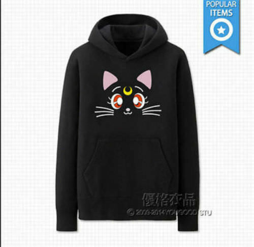 new  NEW Sailor Moon Luna Cute Black or Blue Unisex Sweater Hoodie outdoor