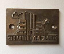 Metal Letterpress Printing Plate Reads School Day Memories