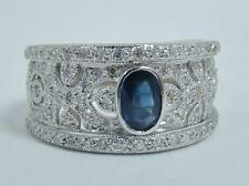 14K WHITE GOLD RING OVAL .60 CT BLUE SAPPHIRE 1/2 CTTW DIAMOND BAND 5.4g SZ 7.25