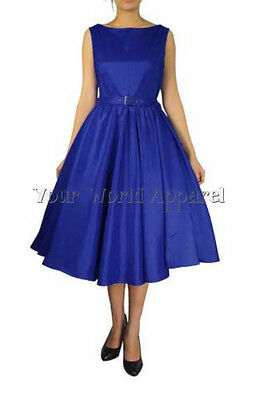 Hepburn Style Blue 50's Rockabilly Swing Evening Pinup Prom Retro Satin Dress