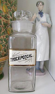 "RARE Glass Label Apothecary Bottle~LUG~10"" Tall~TROCH.POT.CHL~POTASSIUM CHLORIDE"