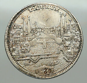 1768-SWITZERLAND-Swiss-Canton-of-ZURICH-Old-LION-1-2-Thaler-Silver-Coin-i84958