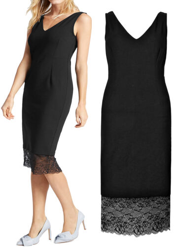 NEW M /& S BLACK LACE TUELLE HEM SHIFT DRESS SPECIAL OCASSIONS UK12-18 RRP £59