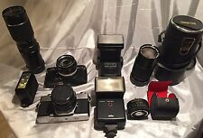Vintage Photo Bundle Konica Camera W/Lens& Minolta W/lens 3 Flashes And 2 Lenses