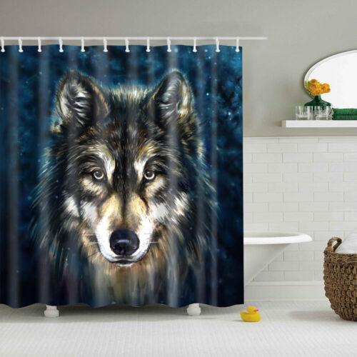 Shower Curtain With 12 Hooks Cute Animal Pattern Waterproof Bathroom Decoration