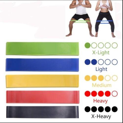 5 Colors Yoga Resistance Rubber Bands Indoor Outdoor Fitness Equipment