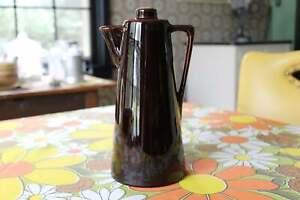 Vintage-Brown-Ceramic-Liquor-Decanter-Coffee-Pot-Leroux-Creme-de-Cafe-Liqueur