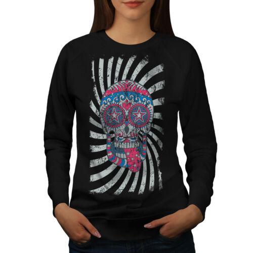 Wellcoda Spiral Crazy Skull Womens Sweatshirt DJ Casual Pullover Jumper