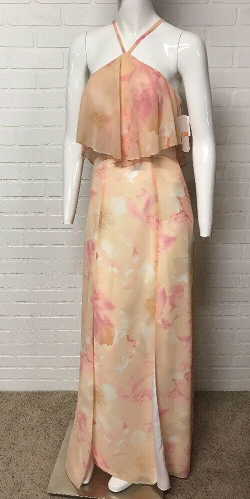 38d92c2624 GB Gianni Gianni Gianni Bini Size 3 Peach Pink Floral Dress Sleeveless  Sundress Long MSRP fdfd8a