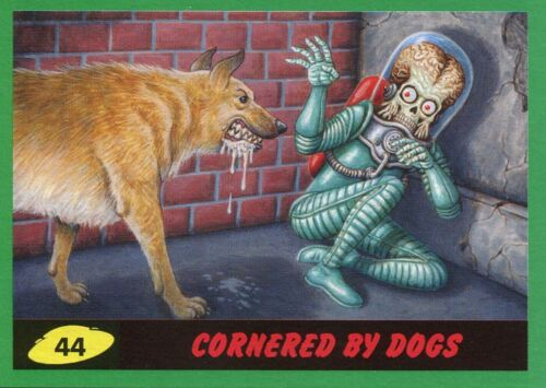 Mars Attacks The Revenge Green Base Card #44 Cornered by Dogs