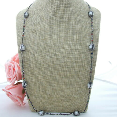 GE021204 35/'/' White Pearl Multi Color Crystal Chain Necklace