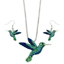 """Hummingbird Necklace & Earrings Set - Sparkling Crystal - Fish Hook - 18"""" Chain"""