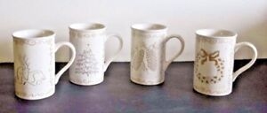 Terrin-Fosson-Holiday-Christmas-Mugs-White-Gold-and-Silver-4-1-2-034-Tall-Set-of-4