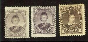 3x-Newfoundland-P-O-W-1c-stamps-32-MNG-32a-MNG-43-MH-Thin-Guide-Value-180-00
