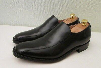 Samuel Windsor Hecho a Mano Cuero Negro Sin Cordones Formal Zapatos Mocasín/UK 9.5 EU 43.5