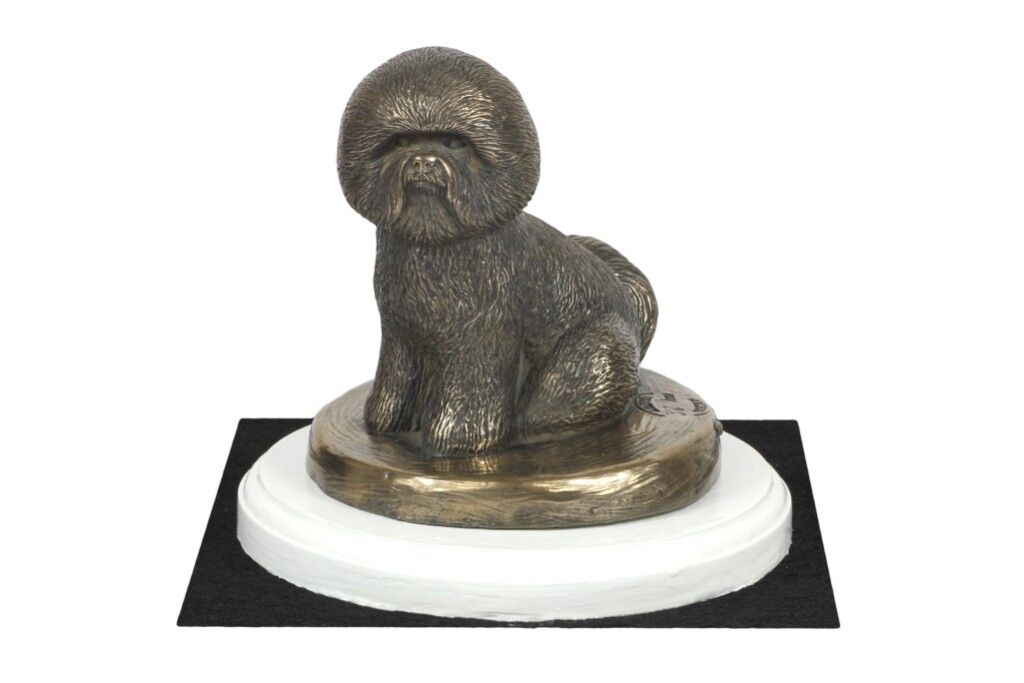 Bichon Frise - figurine made of Bronze on the Weiß wooden base, Art Dog