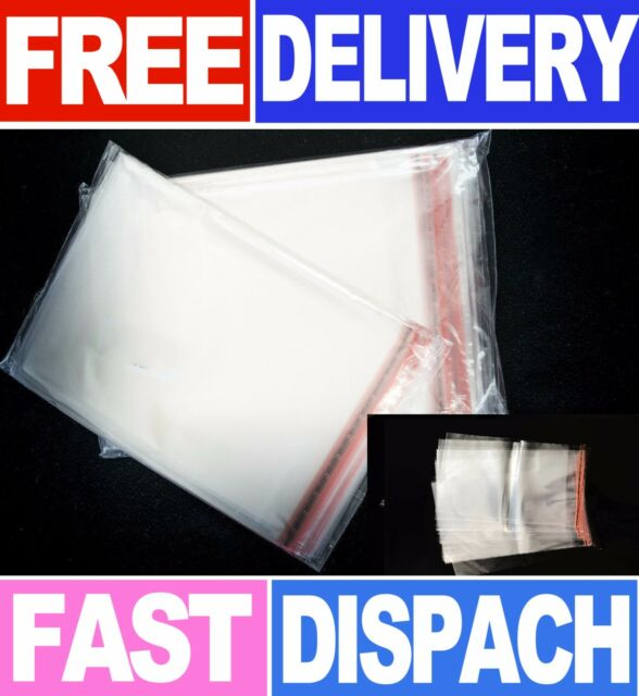 10 x 14 100 X PLASTIC CLEAR SELF ADHESIVE SELF SEAL RESEALABLE CELLOPHANE BAGS PEAL AND SEAL ALL SIZE 25 cm x 35 cm