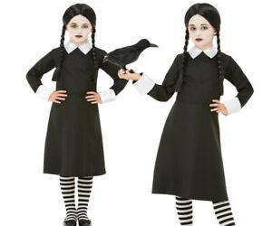 Details About Wednesday Costume Child Creepy School Girl Addams Halloween Fancy Dress Wig