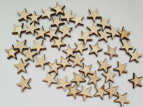 Blank Embellishments Craft 20mm x 20mm Wood Star shapes Laser Cut MDF