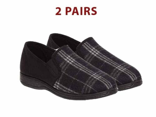2 /& 3 PAIRS BRAND NEW MENS GROSBY FABIO CHARCOAL//BLACK MOCCASINS SLIPPERS SHOES
