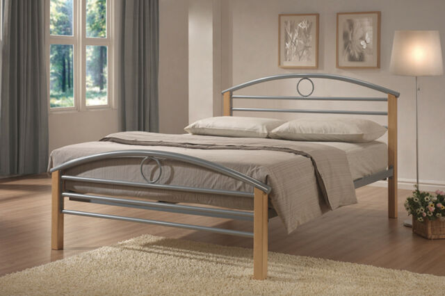 Metal and Wood Bed frame with 1yr GUARANTEE Single Double Small 3ft 4ft 4ft6 DBL