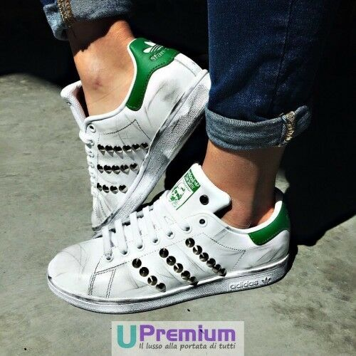 Adidas Stan Smith Verde ORIGINALI Borchiate Argento Vintage Scarpe ORIGINALI Verde 100% ® ITALIA 8e5505