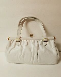 Image Is Loading Vintage Etra White Leather Handbag