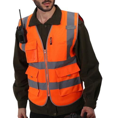 High Vis Viz Zipper Front Safety Vest with Reflective Strips Pocket Waistcoat UK