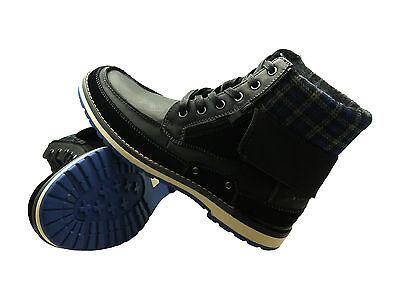 NEW Faranzi Mens Genuine Leather Dark Blue Black Warm Winter High Top Boots