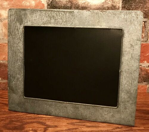 Primitive Galvanized Tin Metal Table Top Chalkboard Stand