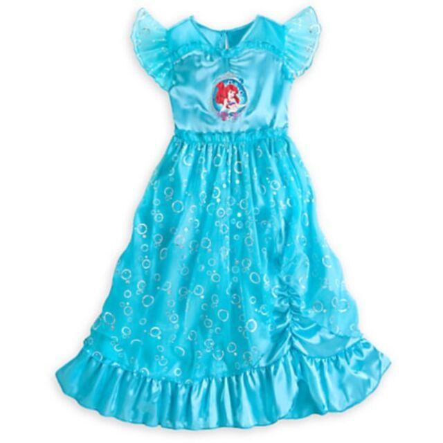 Little Mermaid Sleepwear Disney Store Girls Princess Ariel Nightgown Nightshirt