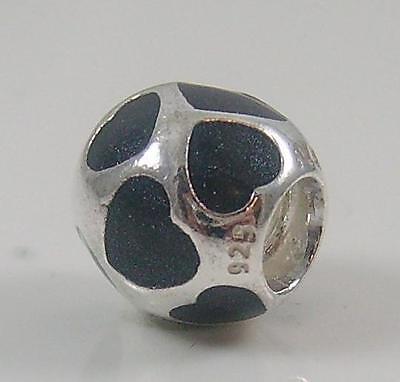 Authentic Genuine Pandora Silver Love You Black Enamel Charm 790543EN22