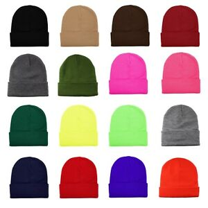 Adroit Unisexe Plaine Chaud Knit Beanie Hat Manchette Crâne Ski Cap 1pc - 12pcs Wholesale Lot-afficher Le Titre D'origine Blanc Pur Et Translucide