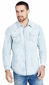 True-Religion-Men-039-s-Ryan-Western-Triple-Needle-Denim-Shirt-XL-2XL