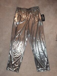 Gianna Mujer Mujer De Oro Cintura Con Cordon Pantalones Talla 34 Nuevo Ebay