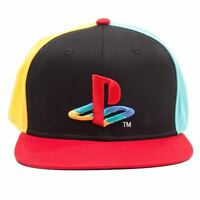 Official Original Playstation Coloured Logo Black Snapback Cap Hat - One Size