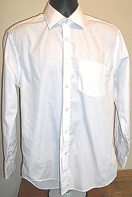 Matalan Artic White Easycare Button Front Long Sleeve Shirt Size 15.5 Mens EUC